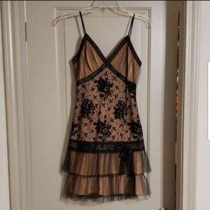 Tan and Black Lace & Velvet Anna Sui Dress